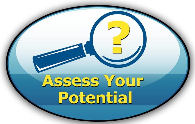 Assess Your Potential: Oval with Magnifying glass and question mark