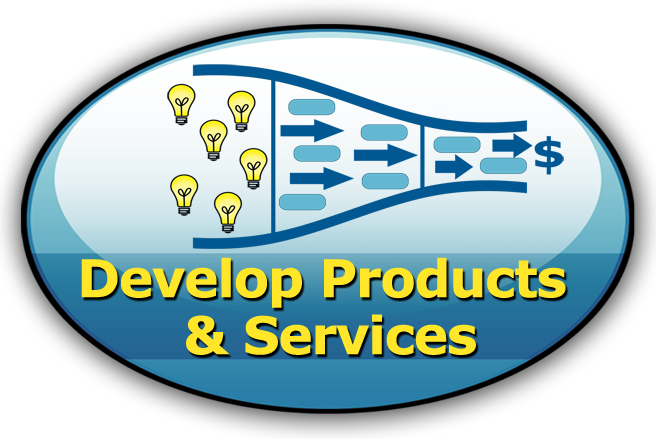 Develop Products & Services - Oval with image of product funnel